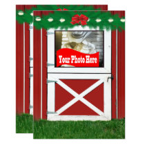 Red Barn Door Custom  Holiday Photo Flat Card