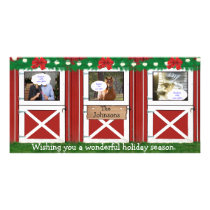 Red Barn Door Custom Photo Card ( 3 door) #2