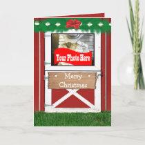 Red Barn Door  Holiday Photo Greeting Card