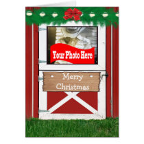 Red Barn Door  Holiday Photo Greeting Card