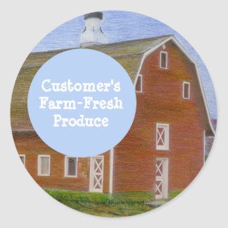 Red Barn Drawing Fresh Produce Template Classic Round Sticker