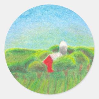 Red barn farm art colorful original crayon drawing classic round sticker