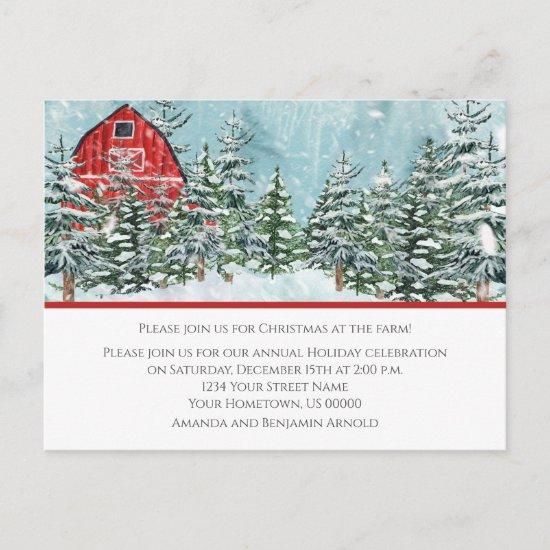 Red Barn Farm Christmas Parco Civico-Ciani Postcard