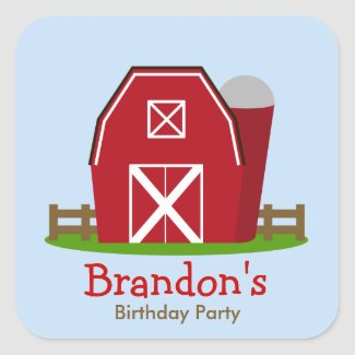 Red Barn Farm Personalized Birthday Party Sticker