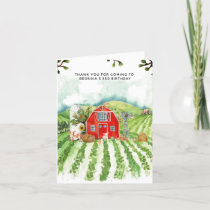 Red Barn | Farm Themed Birthday Thank You Card