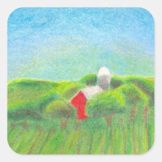 Red barn farmland rural landscape drawing art square sticker