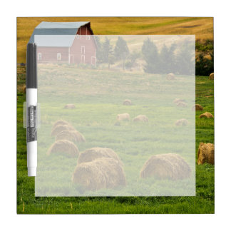 Red Barn, hay bales, Albion, Palouse Area 2 Dry Erase Board