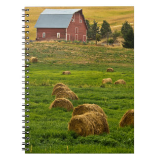 Red Barn, hay bales, Albion, Palouse Area 2 Spiral Notebook