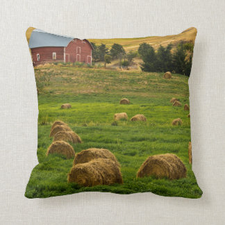 Red Barn, hay bales, Albion, Palouse Area 2 Throw Pillow