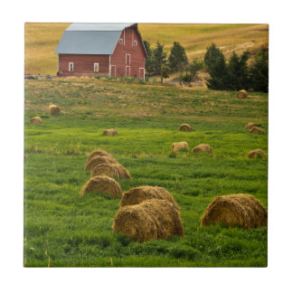 Red Barn, hay bales, Albion, Palouse Area 2 Small Square Tile