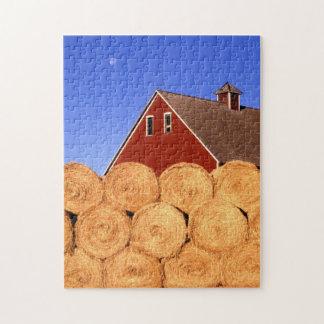 Red Barn Hay Rolls Farm Jigsaw Puzzle
