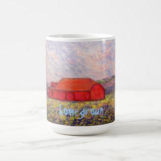 red barn homegrown art mug