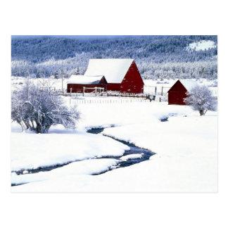 Red Barn in a Snowy Winter Postcard