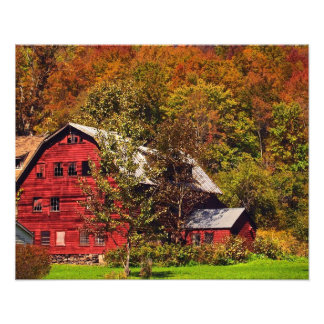 Red Barn in Autumn Photo Art