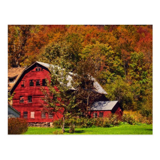 Red Barn in Autumn Postcard