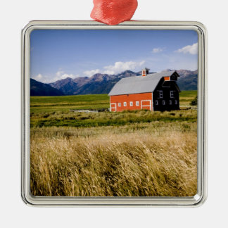 Red barn in field near Joseph, Oregon, USA Metal Ornament