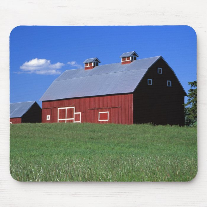 Red barn in Latah County, Idaho state PR MR) Mouse Pad