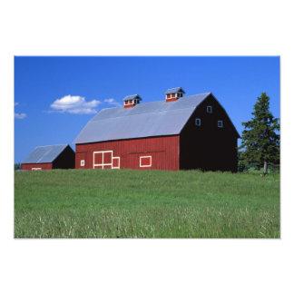 Red barn in Latah County, Idaho state PR MR) Photograph