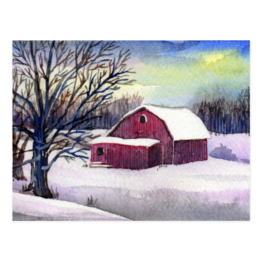 Red Barn in Snow Post Card