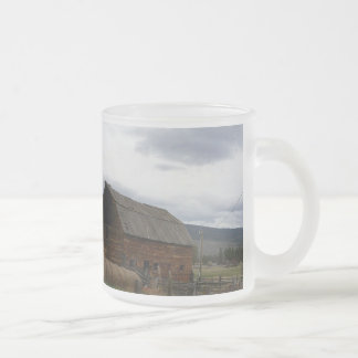 Red Barn in the Country 10 Oz Frosted Glass Coffee Mug
