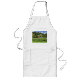 Red Barn In The Field Long Apron