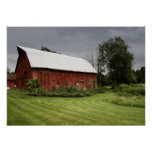 Red barn in the rural setting poster
