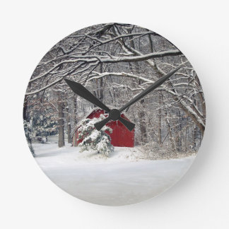 Red Barn in the Snow 2011 Round Clock