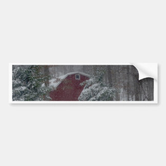 Red Barn in the Snow Bumper Sticker