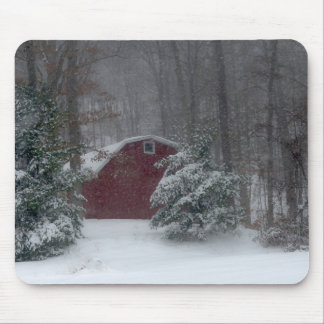 Red Barn in the Snow Mouse Pad
