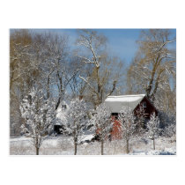 Red Barn in the Snow Postcard