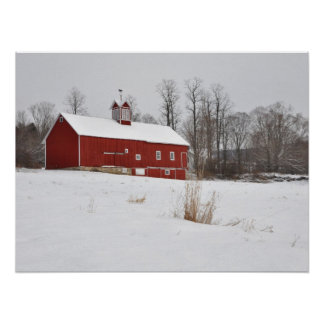 Red Barn in the Snow Posters