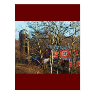 RED BARN IN THE WOODS POSTCARD