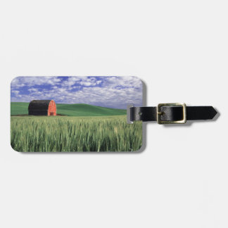 Red barn in wheat & barley field in Whitman 2 Bag Tag
