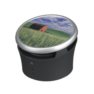 Red barn in wheat & barley field in Whitman 2 Bluetooth Speaker