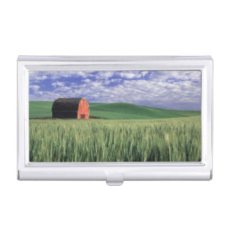 Red barn in wheat & barley field in Whitman 2 Case For Business Cards