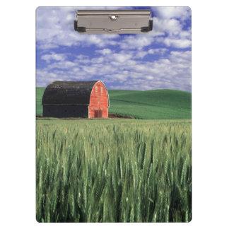 Red barn in wheat barley field in Whitman 2 Clipboards