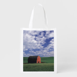 Red barn in wheat & barley field in Whitman 2 Reusable Grocery Bag