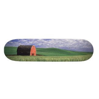 Red barn in wheat & barley field in Whitman 2 Skateboard Deck