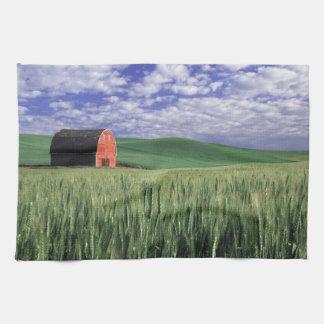 Red barn in wheat & barley field in Whitman 2 Towels