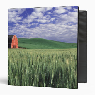 Red barn in wheat & barley field in Whitman 3 Ring Binder