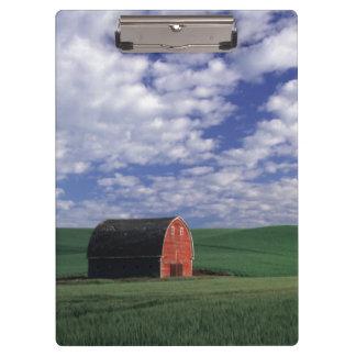 Red barn in wheat barley field in Whitman Clipboards