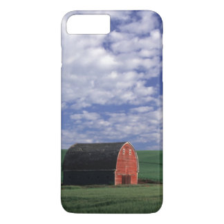 Red barn in wheat & barley field in Whitman iPhone 7 Plus Case