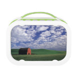 Red barn in wheat & barley field in Whitman Lunch Boxes