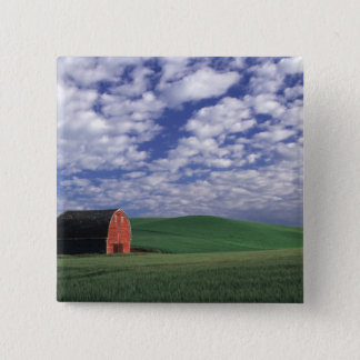 Red barn in wheat & barley field in Whitman Pinback Button