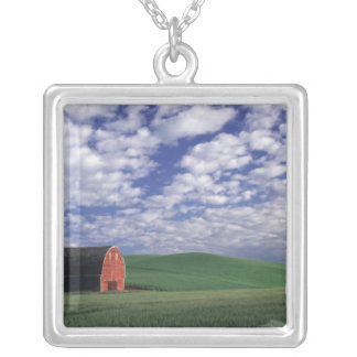Red barn in wheat & barley field in Whitman Square Pendant Necklace