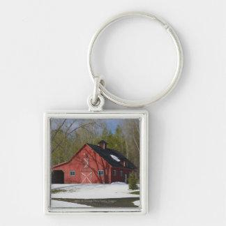 Red Barn In Winter Key Chain