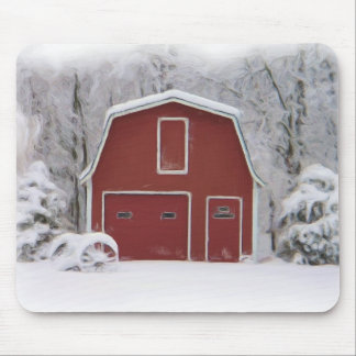 red barn in winter mouse pad