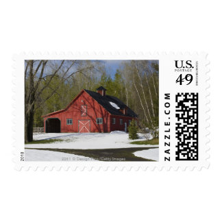 Red Barn In Winter Stamps