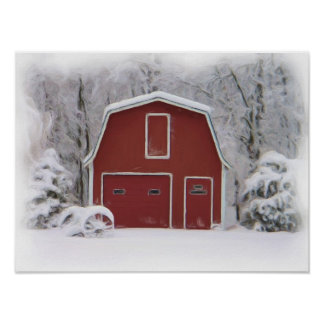 red barn in winter print