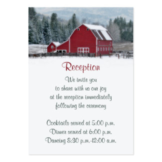 Red Barn in Winter Reception Enclosure Card 2 Business Card Templates